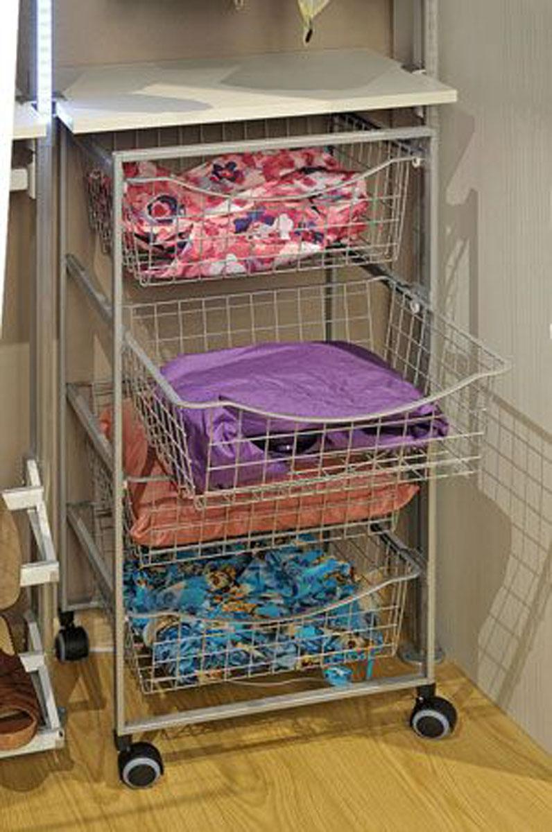 Рамный модуль с сетчатыми корзинами в гардеробной