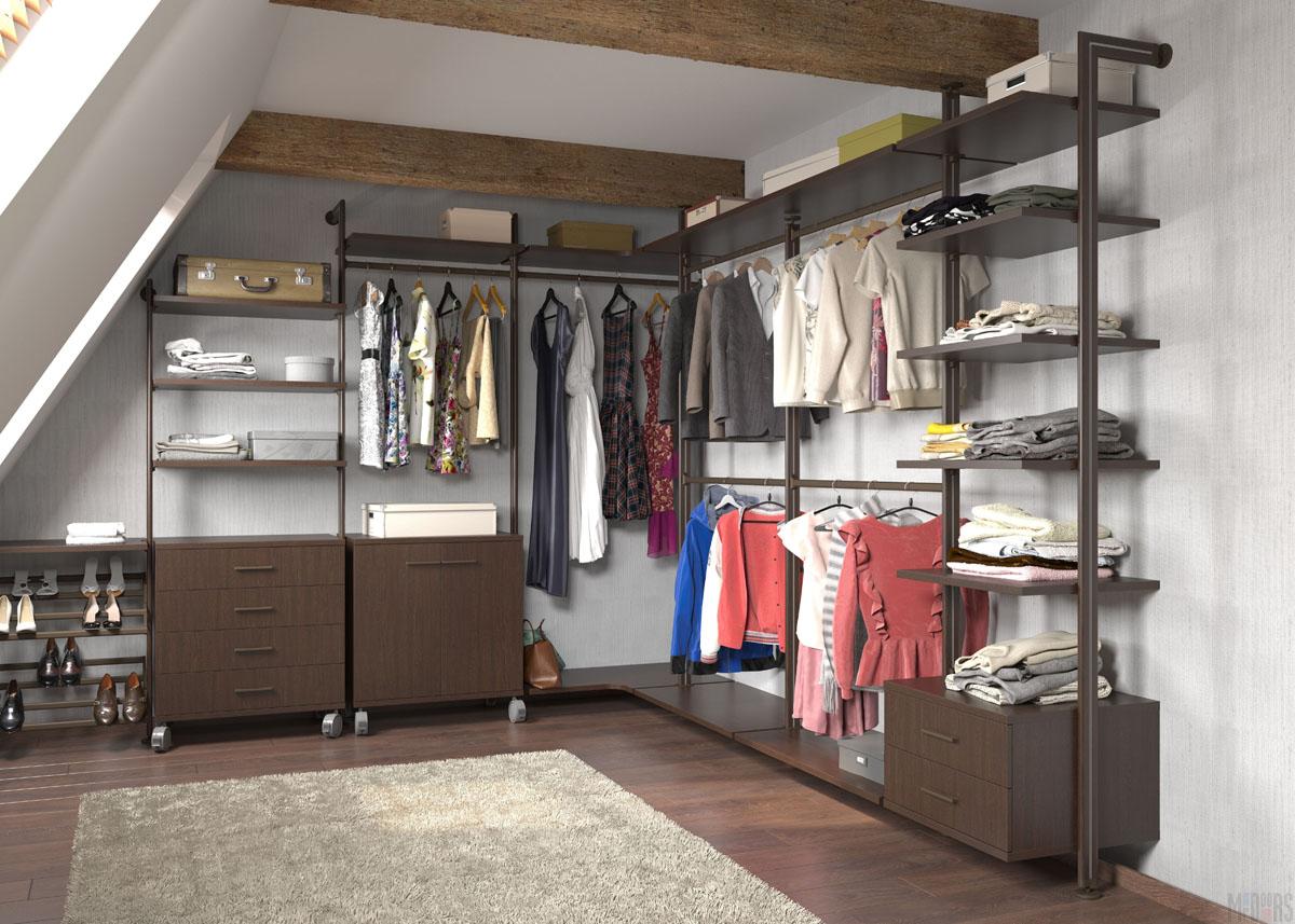 Темно-коричневая комбинированная гардеробная