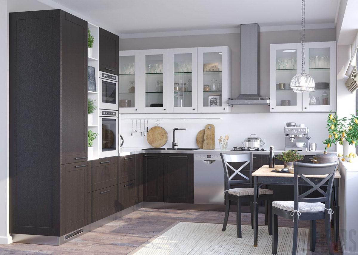 Кухонный гарнитур с контрастными светлыми и темными фасадами