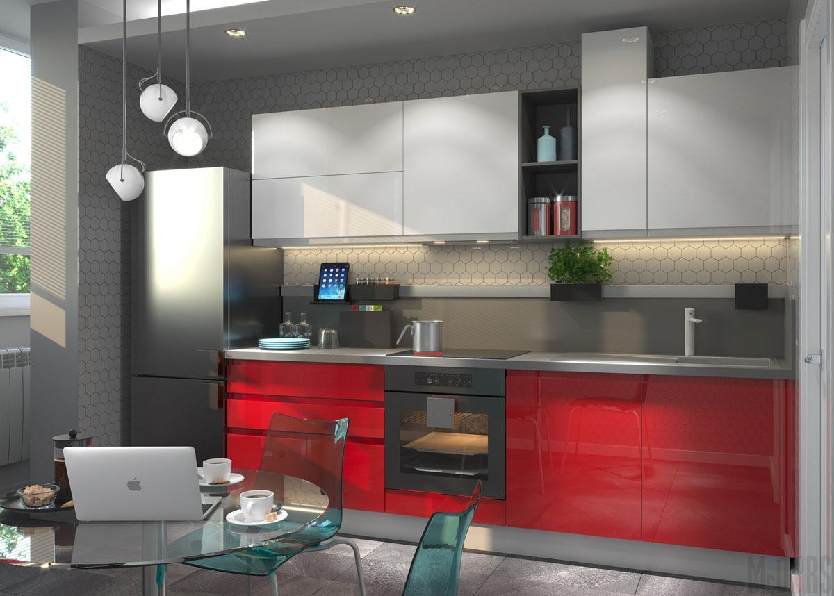 Кухня с белыми верхними шкафчиками и красными нижними